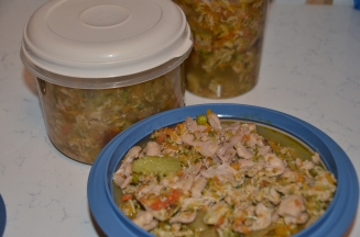 half-weekly portions finished and stored